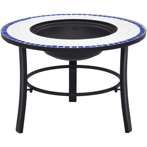 vidaXl Mosaic Fire Pit Blue and White 68cm Ceramic - Blue