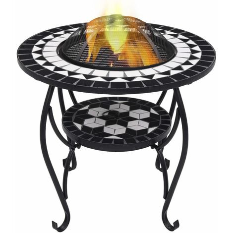 vidaXL Mosaic Fire Pit Table Black and White 68 cm Ceramic - Black