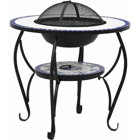 vidaXL Mosaic Fire Pit Table Blue and White 68 cm Ceramic - Blue