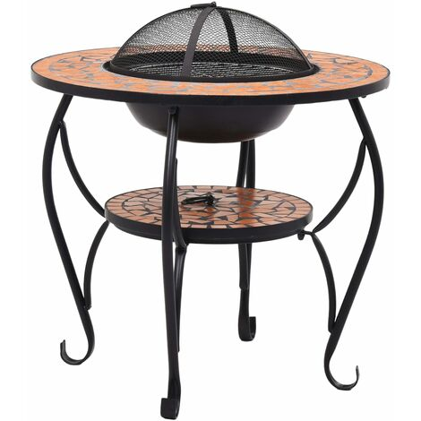vidaXL Mosaic Fire Pit Table Terracotta 68 cm Ceramic - Brown