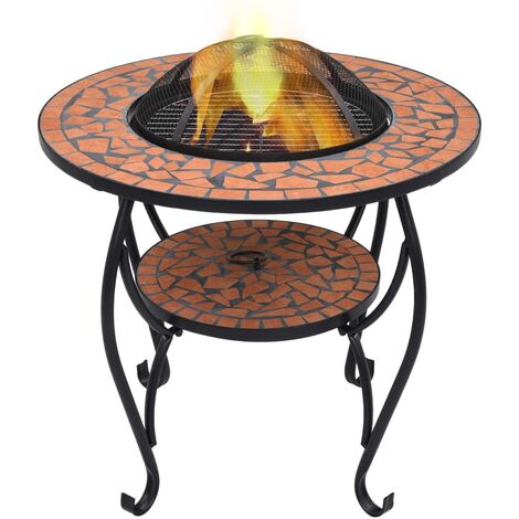 vidaXL Mosaic Fire Pit Table Terracotta 68 cm Ceramic - Brown