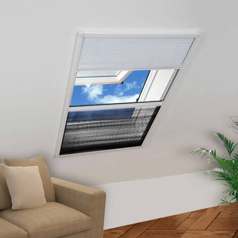 vidaXL Mosquitera plisada aluminio 160 x 110 cm con toldo - Bianco