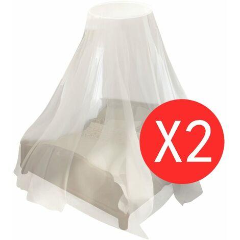 vidaXL Mosquito Net 2 pcs Round 56x325x230 cm - White
