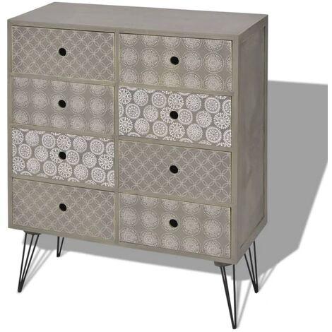 Mueble auxiliar con 8 cajones gris