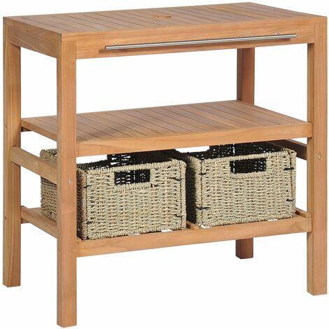 vidaXL Mueble de lavabo con 2 cestas madera teca maciza 74x45x75 cm - Marrón