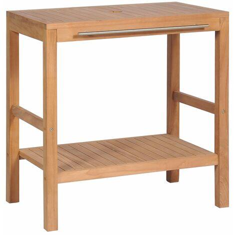 vidaXL Mueble de lavabo tocador madera teca maciza 74x45x75 cm - Marrón