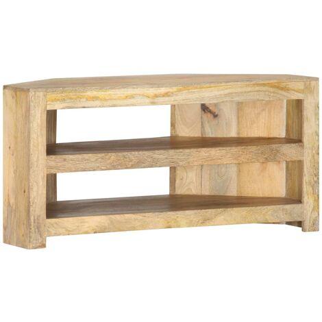 vidaXL Mueble esquinero para TV de madera maciza de mango 90x45x45 cm - Marrón
