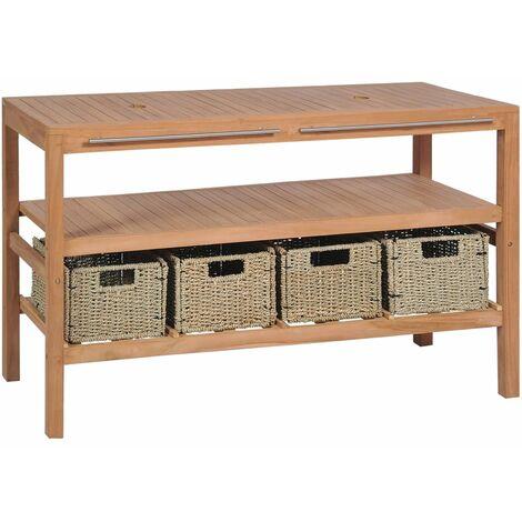 vidaXL Mueble lavabo tocador madera teca maciza 4 cestas 132x45x75 cm - Marrón