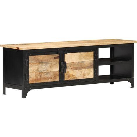 vidaXL Mueble para TV 120x30x40 cm madera maciza de mango - Negro