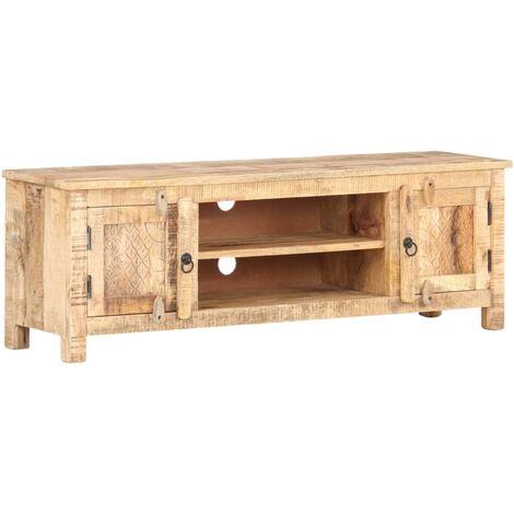 vidaXL Mueble para TV de madera maciza de acacia rugosa 120x30x40 cm - Multicolor