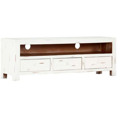 "main image of ""vidaXL Mueble para TV madera maciza de acacia blanco 120x30x40 cm - Blanco"""
