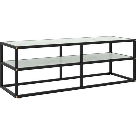 vidaXL Mueble para TV negro con vidrio de mármol blanco 120x40x40 cm - Negro