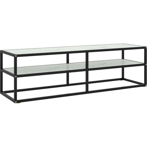 vidaXL Mueble para TV negro con vidrio de mármol blanco 140x40x40 cm - Negro