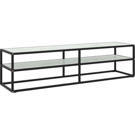 vidaXL Mueble para TV negro con vidrio de mármol blanco 160x40x40 cm - Negro