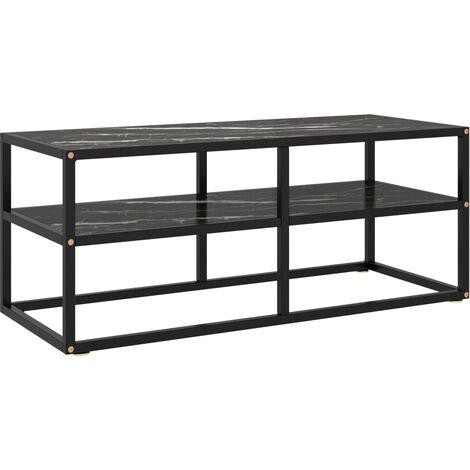 vidaXL Mueble para TV negro con vidrio de mármol negro 100x40x40 cm - Negro