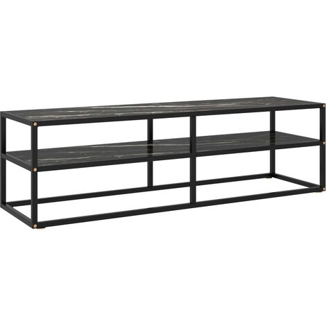 vidaXL Mueble para TV negro con vidrio de mármol negro 140x40x40 cm - Negro