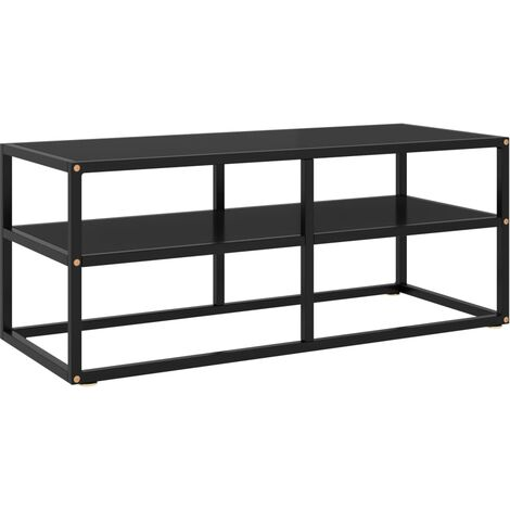 vidaXL Mueble para TV negro de vidrio negro 100x40x40 cm - Negro