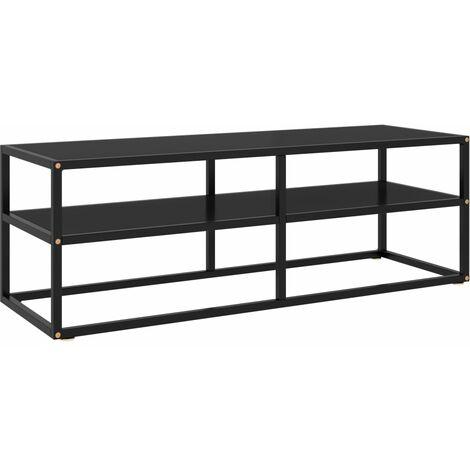 vidaXL Mueble para TV negro de vidrio negro 120x40x40 cm - Negro