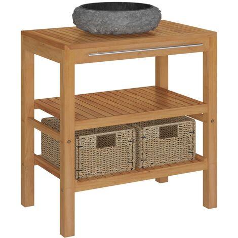 vidaXL Mueble tocador madera teca maciza con lavabo de mármol negro - Marrón