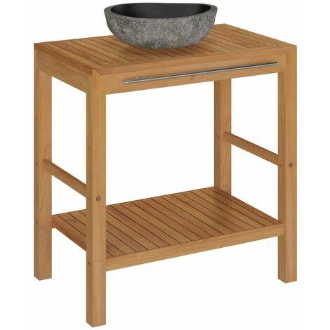 vidaXL Mueble tocador madera teca maciza con lavabo de piedra de río - Marrón