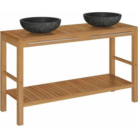 vidaXL Mueble tocador madera teca maciza con lavabos de mármol negro - Marrón