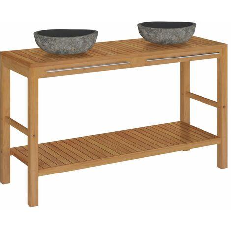 vidaXL Mueble tocador madera teca maciza con lavabos de piedra de río - Marrón