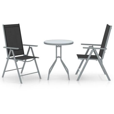 vidaXL Muebles bistró para jardín 3 pzas aluminio y textilene plateado - Plateado