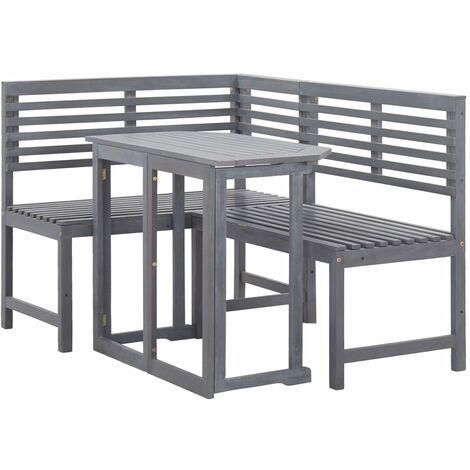 vidaXL Muebles de esquina para balcón 2 piezas madera maciza de acacia - Marrón