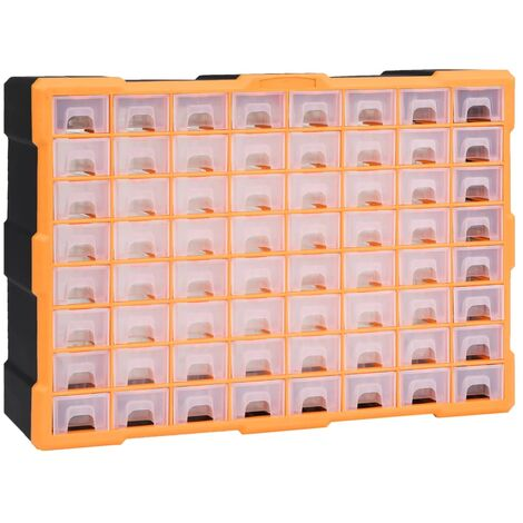 "main image of ""vidaXL Multi-drawer Organiser with 64 Drawers 52x16x37.5 cm - Orange"""