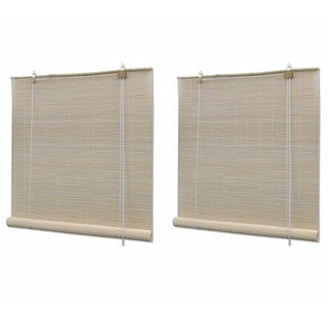 vidaXL Natural Bamboo Roller Blinds 2 pcs 120x160 cm - Beige