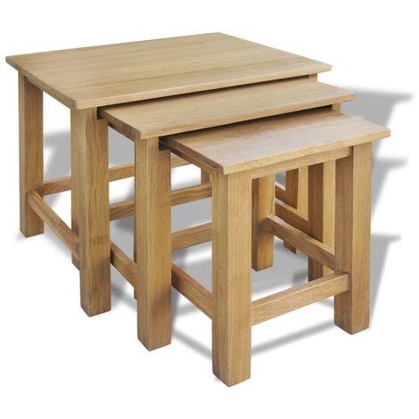 vidaXL Nesting Tables 3 pcs Solid Oak Wood - Brown