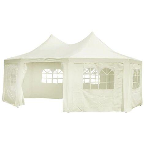 vidaXL Octagonal Party Tent White 6 x 4.4 x 3.5 m - Cream