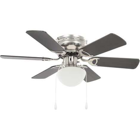 vidaXL Ornate Ceiling Fan with Light 82cm 3 Speed Level Light Brown/Dark Brown
