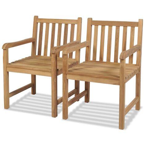 "main image of ""vidaXL Outdoor Chairs 2 pcs Solid Teak Wood - Brown"""