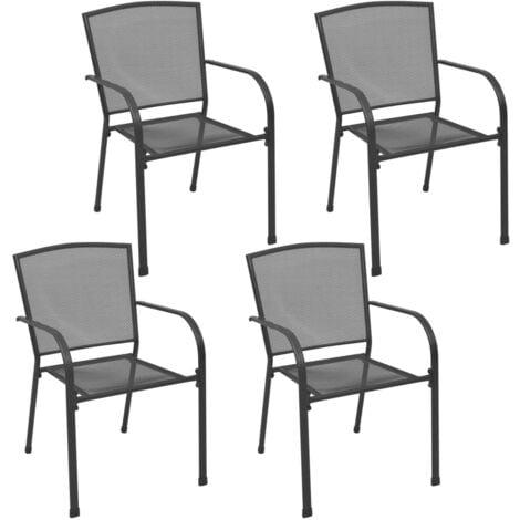vidaXL Outdoor Chairs 4 pcs Mesh Design Anthracite Steel - Anthracite