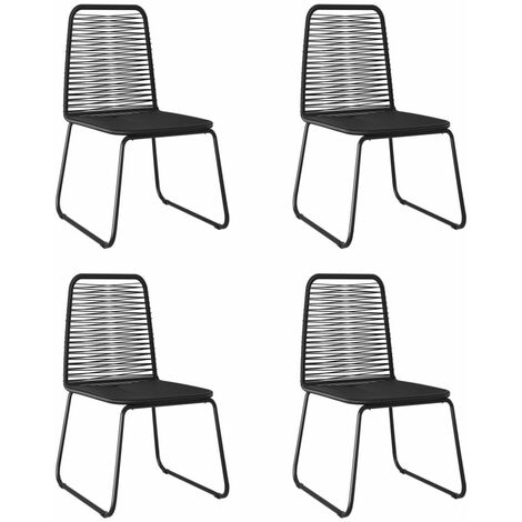vidaXL Outdoor Chairs 4 pcs Poly Rattan Black - Black