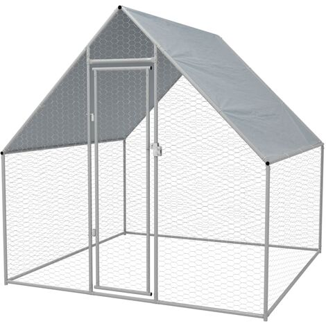 vidaXL Outdoor Chicken Cage Galvanised Steel Habitat Enclosure Multi Sizes