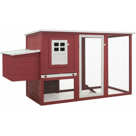 vidaXL Outdoor Chicken Cage Hen House with 1 Egg Cage Red Wood - Red