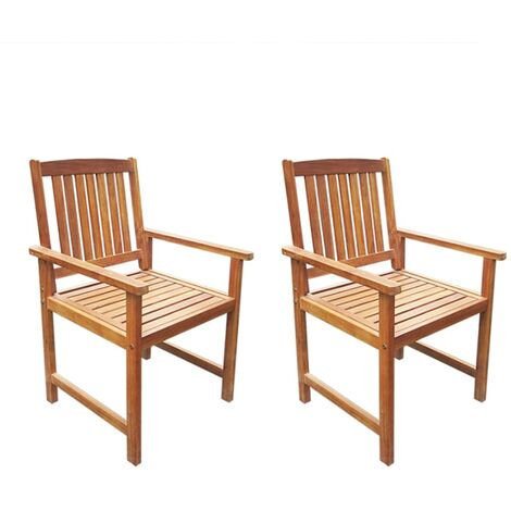 Garden Chairs 2 pcs Solid Acacia Wood Brown