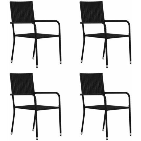 vidaXL Outdoor Dining Chairs 4 pcs Poly Rattan Black - Black