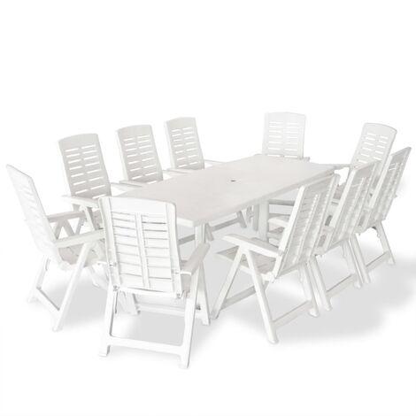 vidaXL Outdoor Dining Set 11 Piece 210x96x72cm Table Folding Chair White/Green