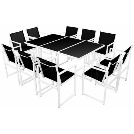11 Piece Outdoor Dining Set Aluminium Black