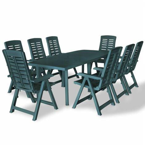 vidaXL Outdoor Dining Set 9 Piece 210x96x72cm Table Folding Chair White/Green