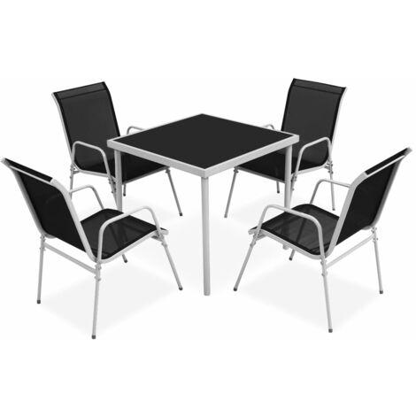 vidaXL Outdoor Dining Set Steel Black Home Kitchen Furniture Living Room Decor Side Chairs Stackable Chairs Outdoor Garden 7/9/5 Piece