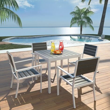vidaXL Outdoor Dining Set with WPC Tabletop Aluminium Black Garden Terrace Patio Furniture Set Table and Chair Side Chairs 5/7/9 Piece