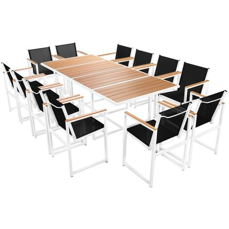 vidaXL Outdoor Dining Set with WPC Tabletop Aluminium Garden Terrace Patio Furniture Set Table and Chair Side Chairs Kitchen 9/13 Piece