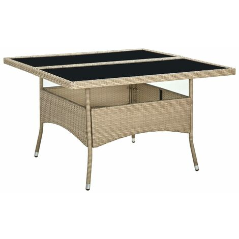 vidaXL Outdoor Dining Table Beige Poly Rattan and Glass - Beige