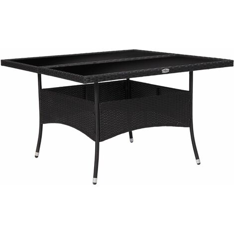 """main image of """"vidaXL Outdoor Dining Table Black Poly Rattan and Glass - Black"""""""