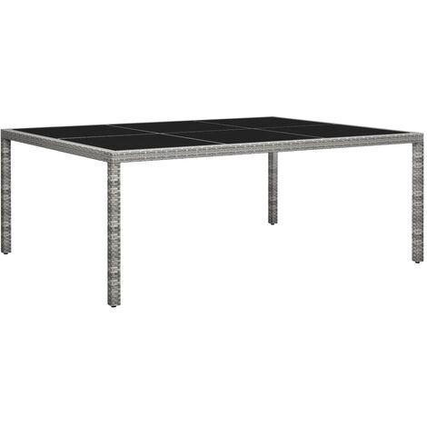 vidaXL Outdoor Dining Table Grey 200x150x74 cm Poly Rattan - Grey
