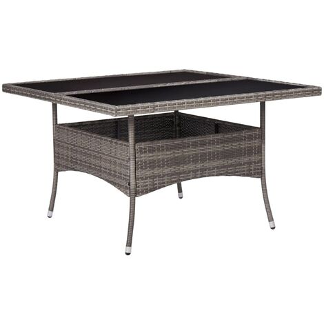 vidaXL Outdoor Dining Table Grey Poly Rattan and Glass - Grey